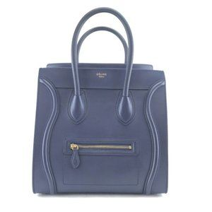 Luggage Calfskin Tote Shopper Blue Leather Satchel